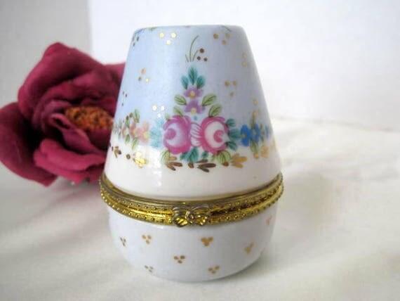 Jewelry Box  - Porcelain Egg Shaped  -  Vanity Box - Painted Porcelain