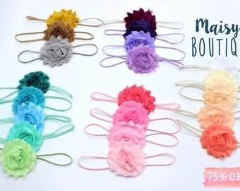 Set of 3 Headbands You Choose Colors/Prints Flower hair clip Set/ Hair Clips/Newborn Headband