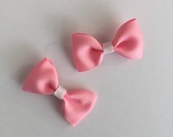 Pink Hair Bows, Pink & White Hair Bows, Hair Accessory, Hair Clip