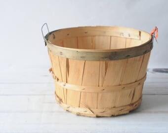 Vintage Split Wood Bushel Basket With Wire Handles Apple Baskets Primitive #OGS1