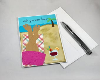Wish You Were Here Card, Selfie Vacation Card, Miss You Card, Beach Card, Sunbathing Card, Paper Handmade Card with Envelope,  Travel Card