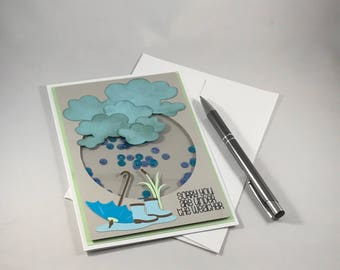 Get Well Card, Under the Weather, Get Well Soon Handmade Paper Card, Rain Shaker Card, Get Well Soon Card
