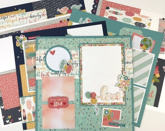 12x12 Scrapbook Page Kit or Premade Pre-Cut with Instructions 6 pages Friends Family Faith