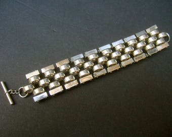 Sleek Chrome Metal Hinged Link Bracelet c 1960