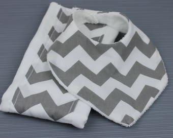 Baby bib and burp cloth set of 2