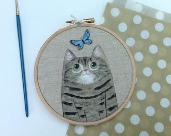 Custom cat portrait - painted cat portrait - cat lover gift - custom pet portrait - housewarming gift - cute cat portrait - pet memorial