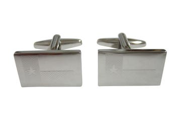 Silver Toned Etched Texas State Flag Cufflinks