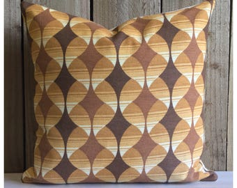 """Original Vintage Brown  Psychedelic Fabric Cushion Cover 16"""" x 16"""" Retro Throw Pillow"""