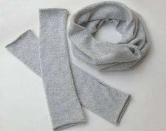 100% Cashmere Snood And Hand Arm warmers