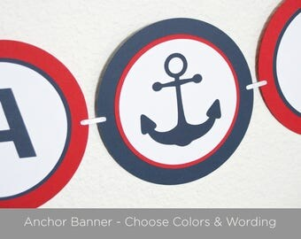 Nautical Baby Shower Banner, Baby Shower Decorations, Choose Colors and Wording