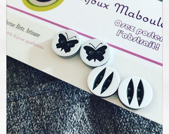 Ensemble boucles d'oreilles black and white , deux paires , boutons motifs, bases en acier chirugical , hypoallergene , noir, blanc, earring