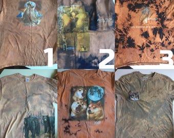 Vintage animal tees bleached and renewed tie dye