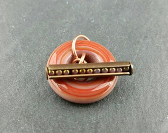 Rusty Red handmade glass toggle clasp