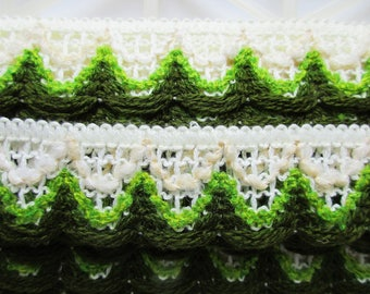 German Vintage Retro White and Green Rustic Fabric Border Trim Ornamental Trimmings for Lampshades Curtains, Supply