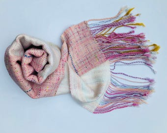 "Pink & White Hand Woven Scarf - ""Tahani"" - Everyday Scarf - Gift for Her - Unique Blends - Large handwoven scarf - Twisted Fringe"