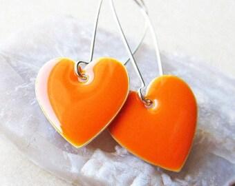 40% OFF Dangle Drop Earrings - Tangerine Orange Epoxy Enamel Hearts - Sterling Silver Plated over Brass (F-1)