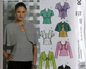 Misses Womens Lined and Unlined Shrugs Capelet Top Sewing Pattern Uncut FF McCalls M5006 12 14 16 18