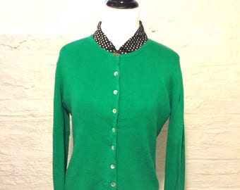 Vintage 1980s Emerald Green BOGARi Cardigan with Silver Ribbon Button on Collar