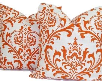 PILLOW SET.18x18 inch..Burnt Orange Pillow Cover.Decorative Pillows.Damask .Fall .Sweet Potato.Toss Pillows.Throw Cushion.Floral.Cm