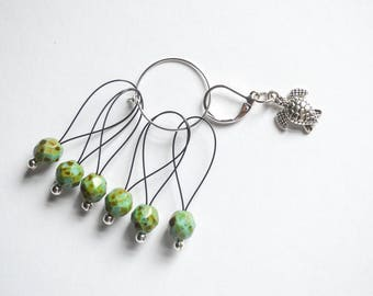 Sea Turtle Progress Keeper and Green Beaded Stitch Marker Set Knitting Notions Gifts for Knitters Ocean Theme