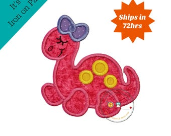 Girl purple  and pink dinosaur iron on applique - Iron embroidered fabric Dino applique patch embellishment-ready to ship