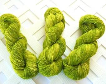 Indie-Dyed Yarn, MARGARITA Sparkly Sock Yarn, Merino Yarn, Knitting Yarn, Tonal Yarn, Lime Sock Yarn, Gift for Knitter, Superwash Merino