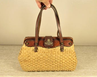 Wicker Leather Purse - Vintage John Romain Woven Straw with Contents Hand Bag