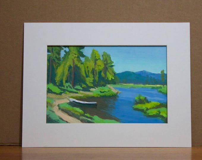 East Davis Lake CG Summer Greens Original Oregon Landscape 8x12 inches Matted
