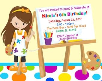 Painting Birthday Party Invitation  -  (Digital File) - Art Birthday Party - Painting Party Invitation - Invitation to painting birthday
