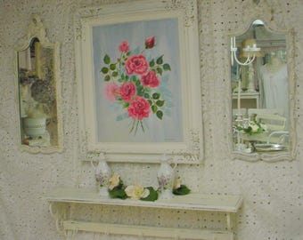 Roses Oil Painting Vintage Framed Shabby Chic Farmhouse French Cottage Chic