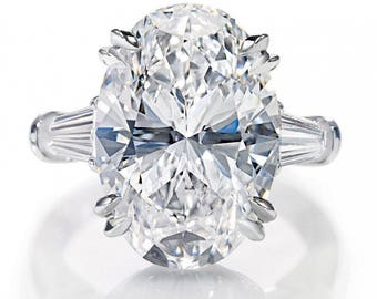 3.60 CARAT GIA Certified VVS1 Oval with Tapered Baguette Diamond Engagement Ring