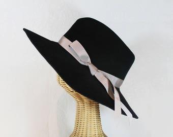 Women's Black Wide Brim Fedora in Velour Felt ~ Katharine ~ rain hat, 1940s, Hepburn ~ handmade by Bonnet, your local Portland millinery