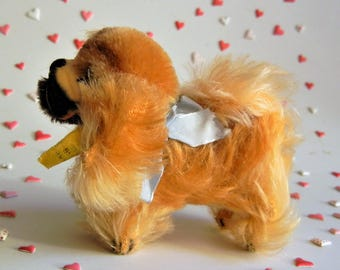 Steiff Vintage Pekinese Dog Peky ALL IDs Minty Doll Sized Miniature  w/ Jointed neck 1959- 67 Collectible Handmade Toy