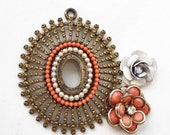 salvaged jewelry components with missing rhinestones//white coral//brass metal medallion odd earrings for repurposing--mixed lot of 3 items