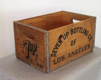 Seven Up Bottling Co of Los Angeles - Vintage Wood Soda Crate