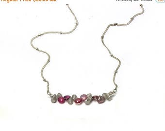 20% off. Pink Spinel and Labradorite Necklace. Bridesmaid Gift. Briolette Bar Necklaces.  Multi Gemstone Necklaces.  N2393