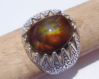Mexican Fire Agate Sterling Silver Ring Size 10