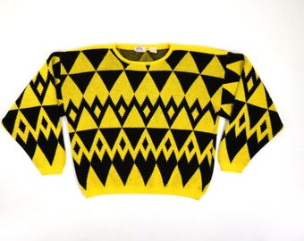 Vtg Black Yellow Geometric Charlie Brown Style Acrylic Knit Hip Hop Lisa Turtle Long Sleeve Pullover Friendship Sweater / Fits Lady M to Lg