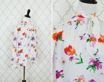 SUMMER SALE Vintage 1980's White Floral Secretary Blouse - Long Sleeve Neck Tie top - Breezy Summer blouse - ladies size medium