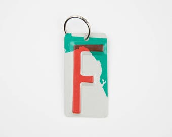 Letter F Key Chain - Initial F key chain - License Plate Key Chain - Charm - gift tag - Gift for Teacher - Gift for Teen - stocking stuffer