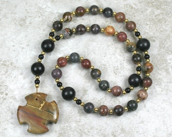 Anglican rosary in red creek jasper and obsidian with kintsugi (kintsukuroi) red creek jasper Greek cross with gold repair - OOAK