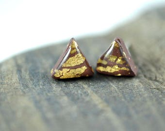 Brown Triangle with Gold Leaf High Gloss Stud Earrings