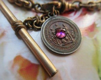 Antique Watch Chain - Civil War Veteran Medal 1861 - 1866 - 1800s Mens Fashion - Bespoke Accessory - Civil War Memorabilia - Gifts For Men