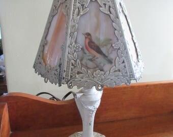 Antique Boudoir Table Lamp - Antique Cast Art Nouveau Slag Glass Boudoir Lamp Circa 1915 - Nature Inspired Bird Accents - Small Accent Lamp