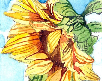 ACEO Limited Edition 2/25- Summer sunflower, Art print of an original watercolor, Small gift idea for her