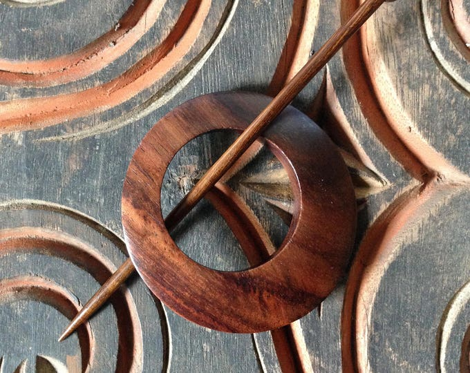 Classic Off Center Rosewood Shawl Pin
