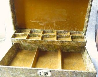 Gold Velvet Jewelry Box Large 9 x 14 Inch 1970s Mid Century Design Extra Compartment Shelf Jewelry Organization