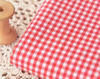 Red Plaid Fabric, Poly Cotton Fabric Sold by Half Meter MJ707