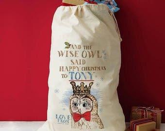 Owl Christmas sack, Christmas holiday owl, Woodland Christmas sack, Santa Sack, owl Xmas decor, owl sack, Owl stocking, Wise owl