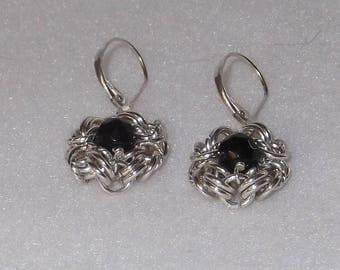 Elegant Sterling Silver Chain Mail Earrings with Black Onyx